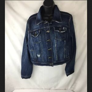 Decree Womens XL Distressed Jean Jacket